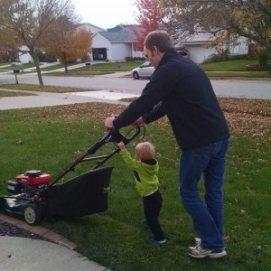 Micah & Daddy Mowing